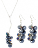 Black Crystal Aurora Borealis Fashion Cluster Y Drop Earrings & Necklace Set
